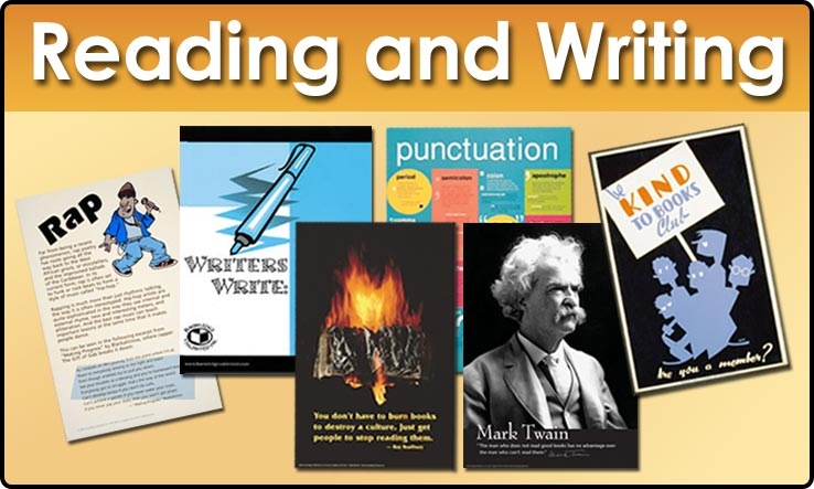 Reading and Writing products: Books, Bookmarks, Posters, and Poster Sets